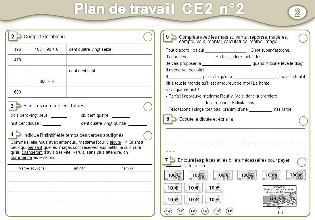 Plan De Travail Ce2 N 2 1 Activit S Au Choix Activit S