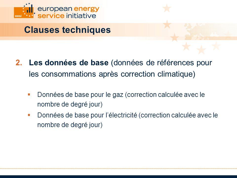 Clauses techniques Les données de base (données de références pour les consommations après correction climatique)