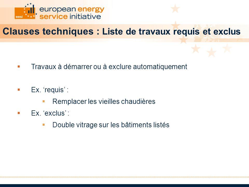 Clauses techniques : Liste de travaux requis et exclus