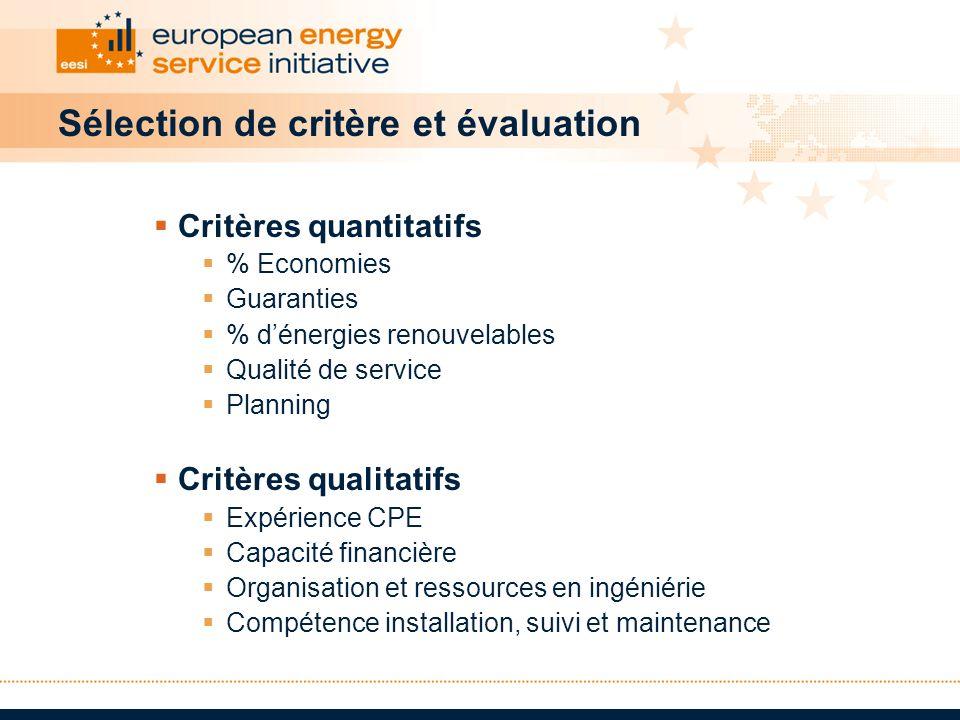 Sélection de critère et évaluation