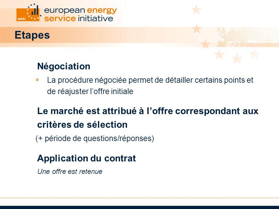 Etapes Négociation. La procédure négociée permet de détailler certains points et de réajuster l'offre initiale.