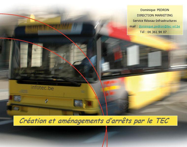 Création et aménagements d'arrêts par le TEC