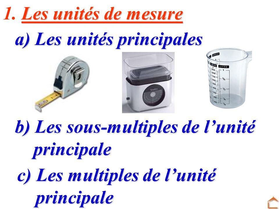 1. Les unités de mesure a) Les unités principales. b) Les sous-multiples de l'unité. principale. c) Les multiples de l'unité.