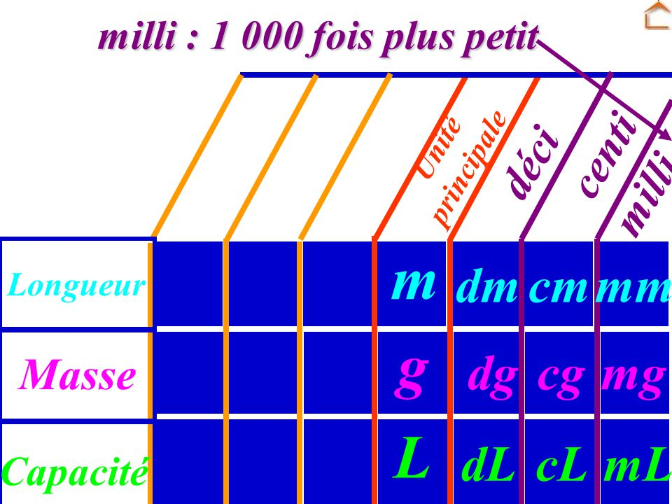 m g L dm cm mm dg cg mg dL cL mL centi déci milli Masse
