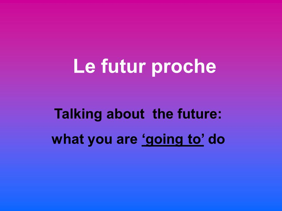 Talking about the future: what you are 'going to' do