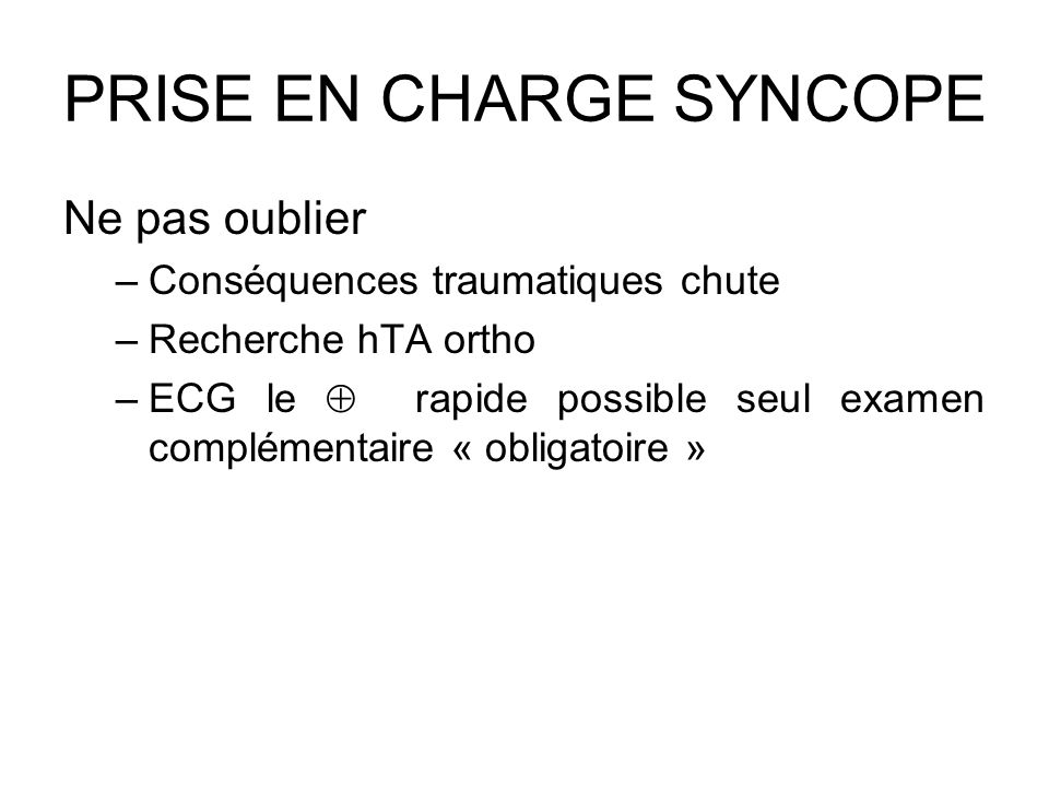 PRISE EN CHARGE SYNCOPE
