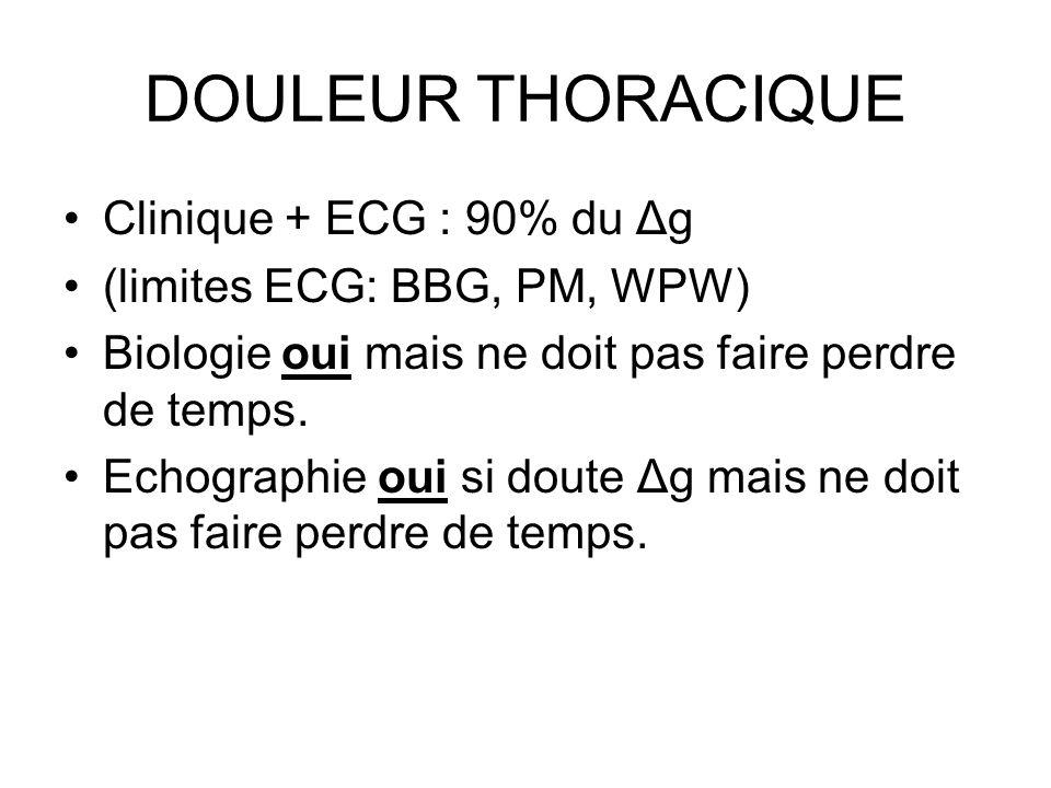 DOULEUR THORACIQUE Clinique + ECG : 90% du Δg