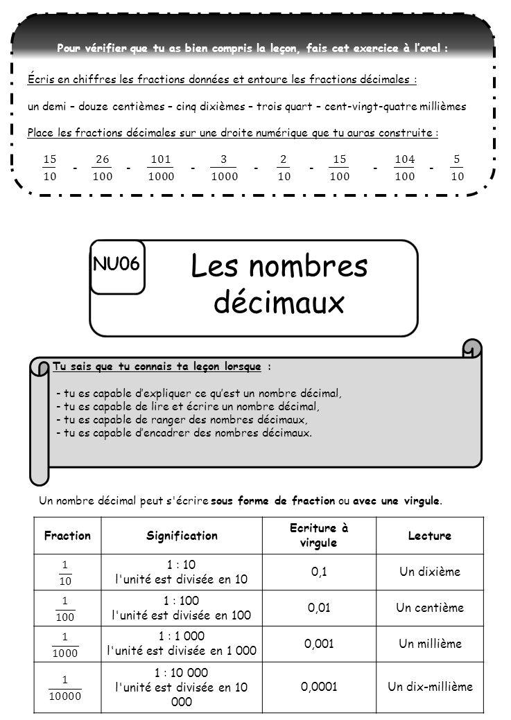 Les nombres décimaux NU06
