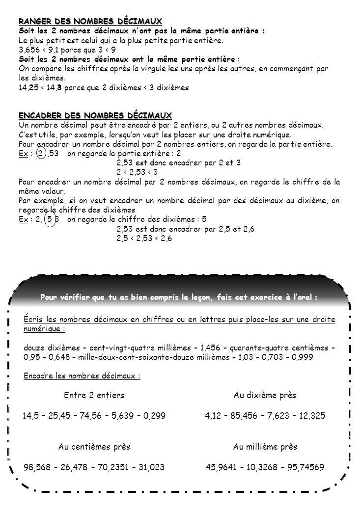 Entre 2 entiers Au dixième près 14,5 – 25,45 – 74,56 – 5,639 – 0,299