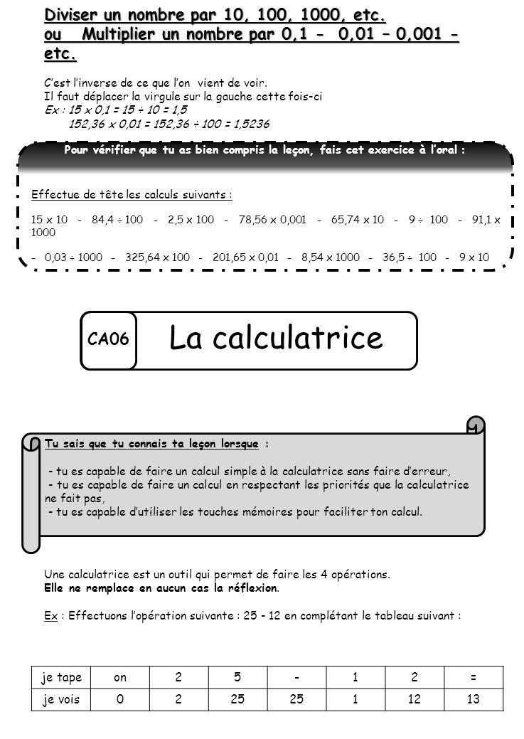 La calculatrice Diviser un nombre par 10, 100, 1000, etc.
