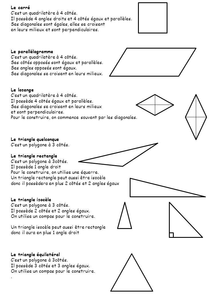 Le carré C'est un quadrilatère à 4 côtés. Il possède 4 angles droits et 4 côtés égaux et parallèles.