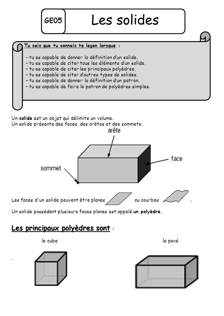 Les solides GE05 Les principaux polyèdres sont :