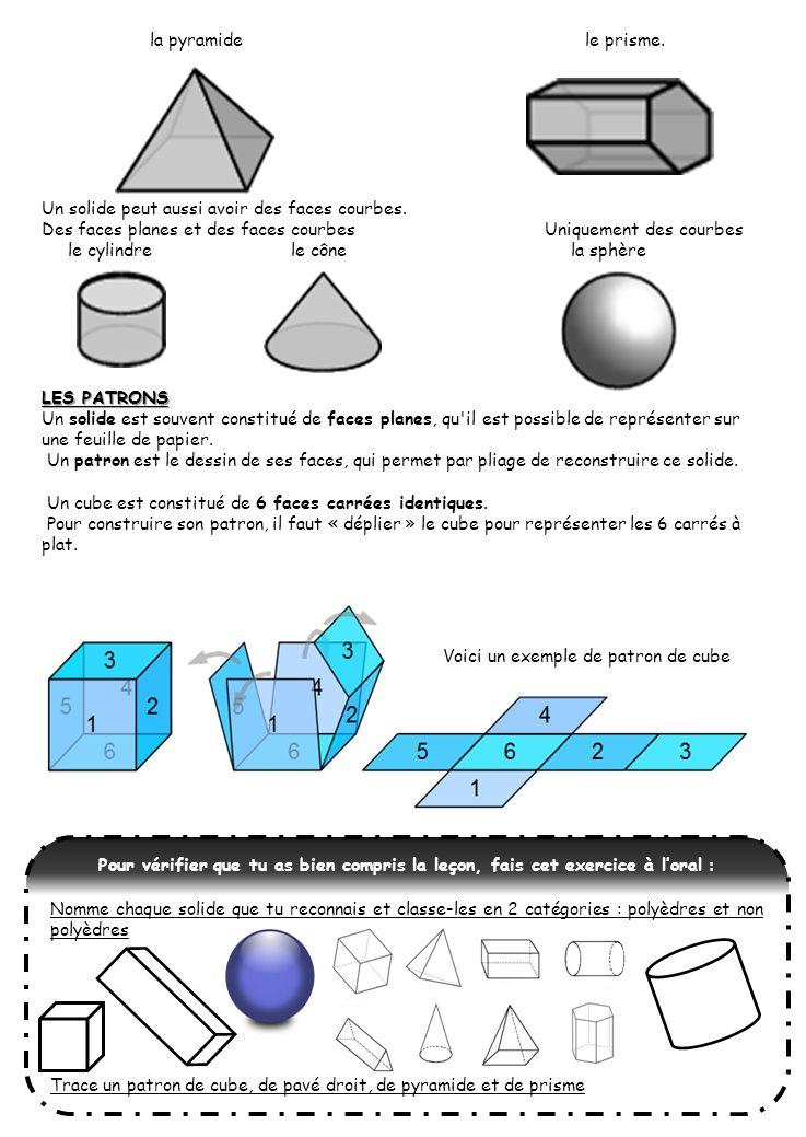 la pyramide le prisme. Un solide peut aussi avoir des faces courbes. Des faces planes et des faces courbes Uniquement des courbes.