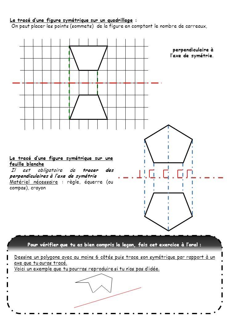 Le tracé d'une figure symétrique sur un quadrillage :