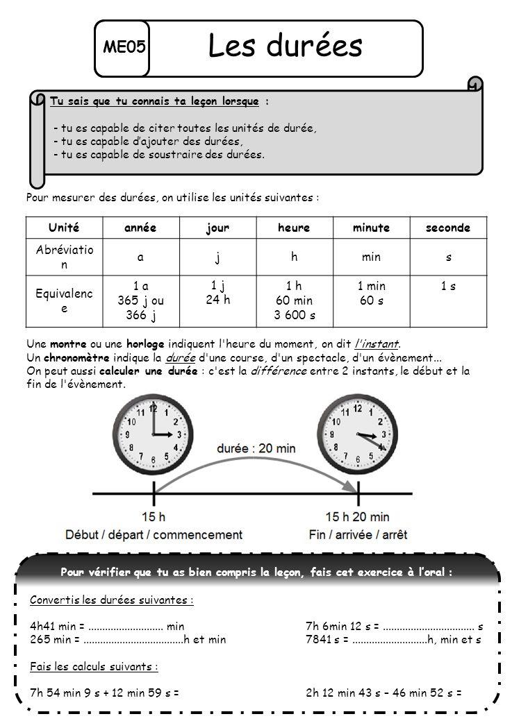 Les durées ME05 Unité année jour heure minute seconde Abréviation a j