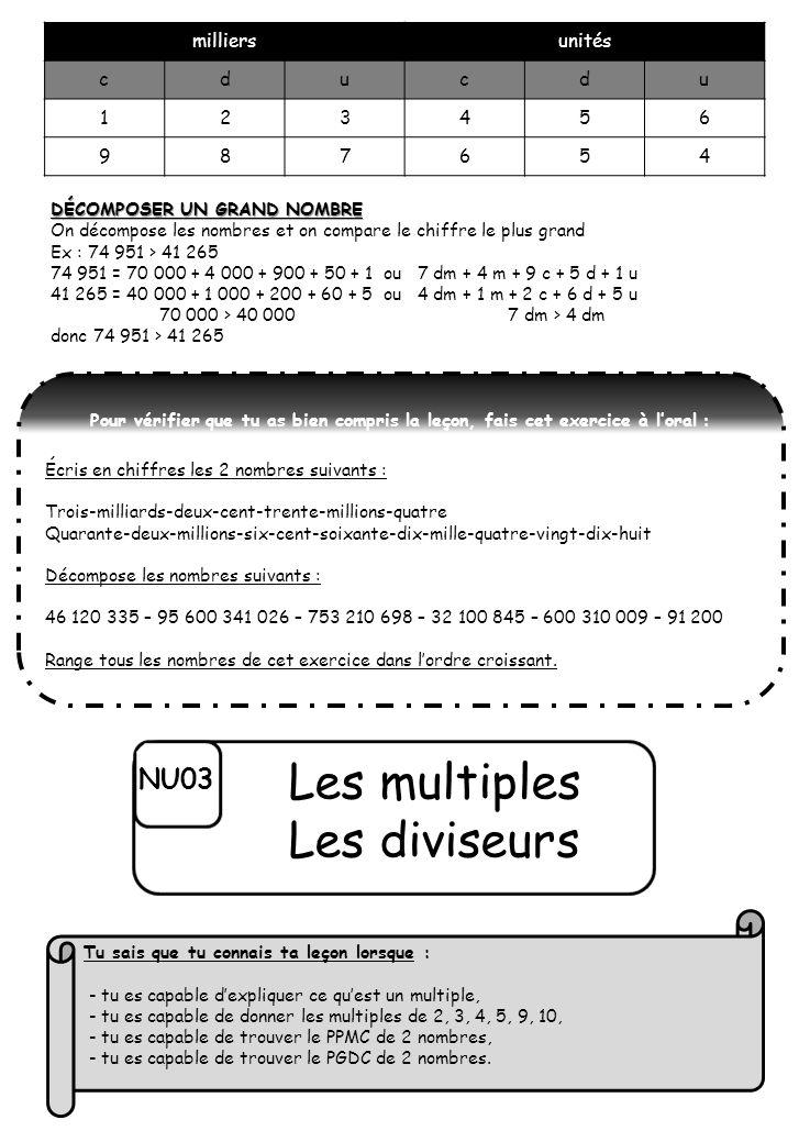 Les multiples Les diviseurs NU03 milliers unités c d u 1 2 3 4 5 6 9 8