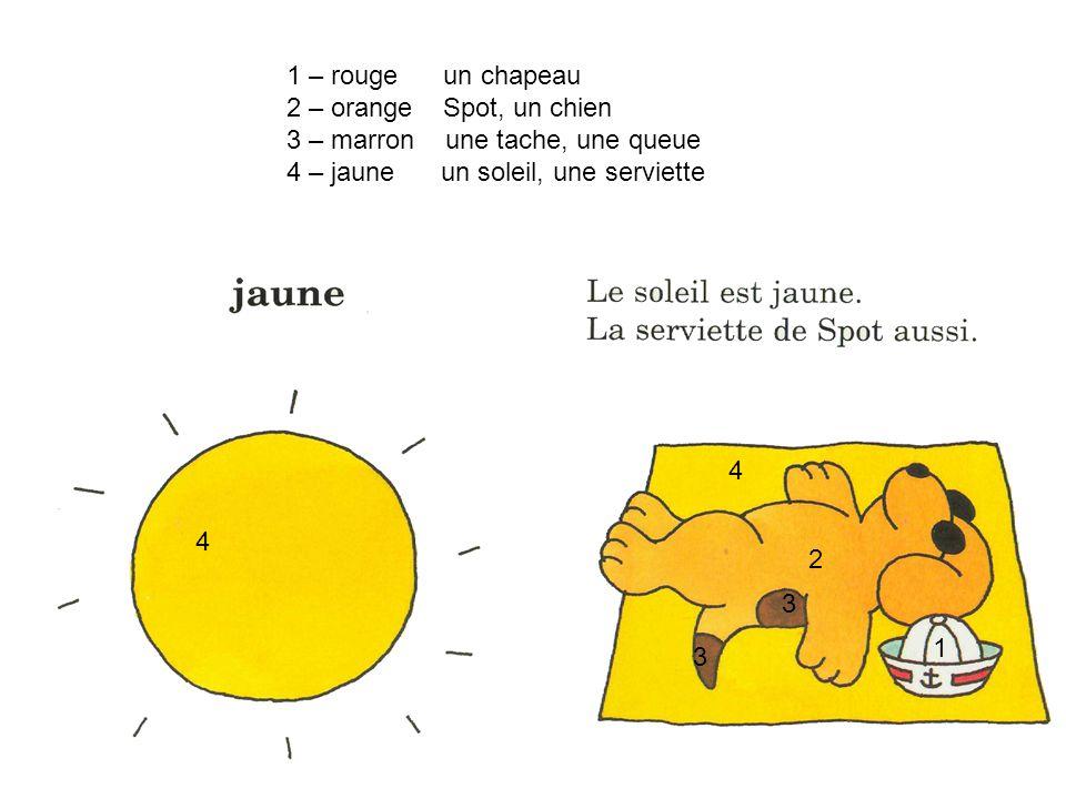 1 – rouge un chapeau 2 – orange Spot, un chien. 3 – marron une tache, une queue. 4 – jaune un soleil, une serviette.