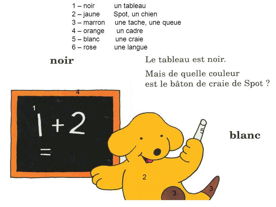 1 – noir un tableau 2 – jaune Spot, un chien. 3 – marron une tache, une queue. 4 – orange un cadre.