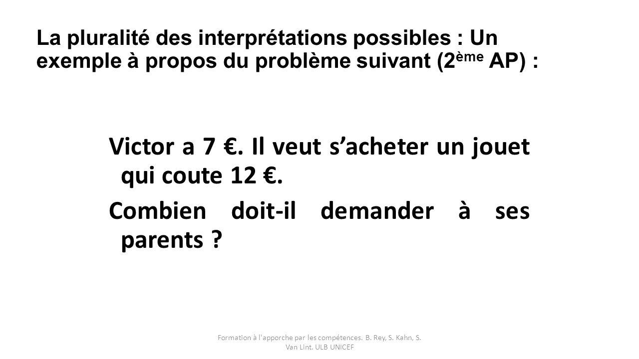 La pluralité des interprétations possibles : Un exemple à propos du problème suivant (2ème AP) :