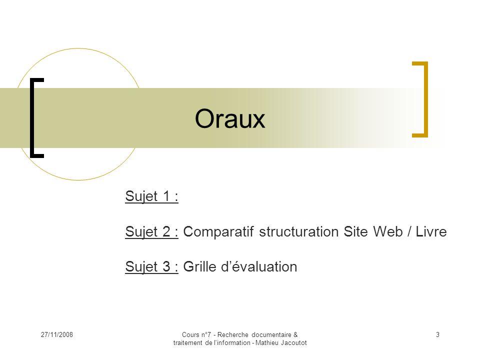 Oraux Sujet 1 : Sujet 2 : Comparatif structuration Site Web / Livre