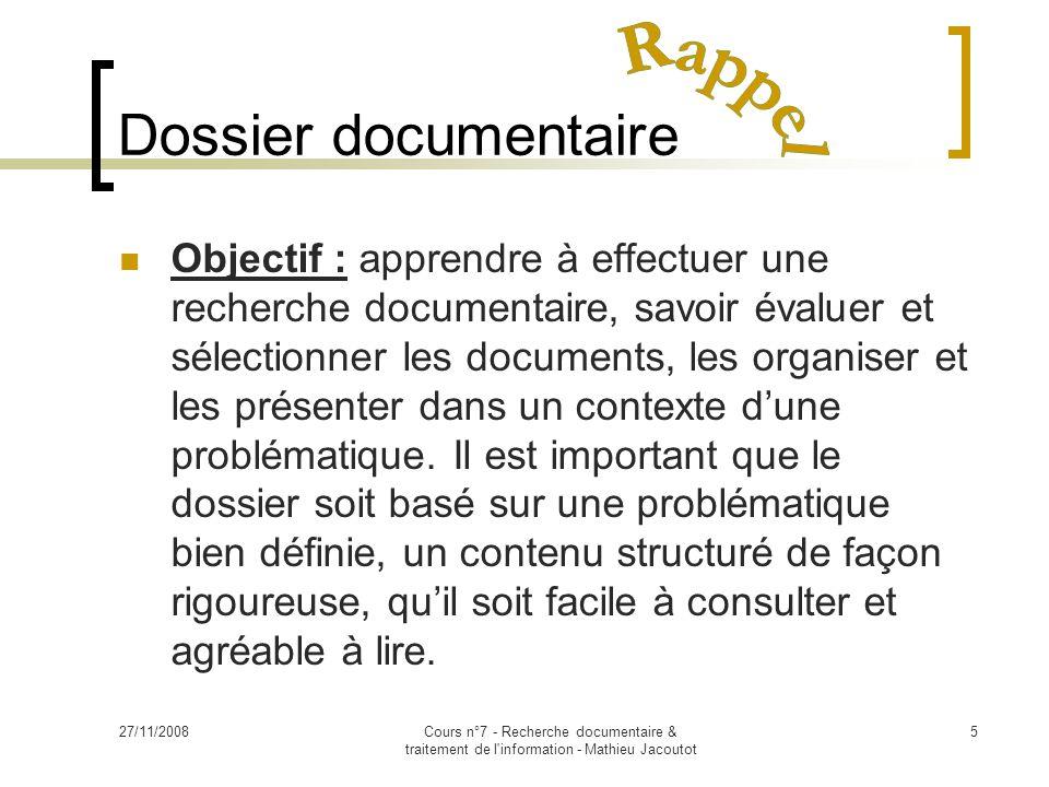 Dossier documentaire Rappel