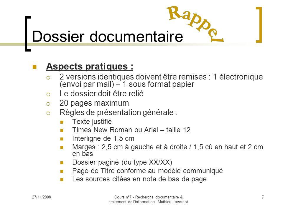Dossier documentaire Rappel Aspects pratiques :