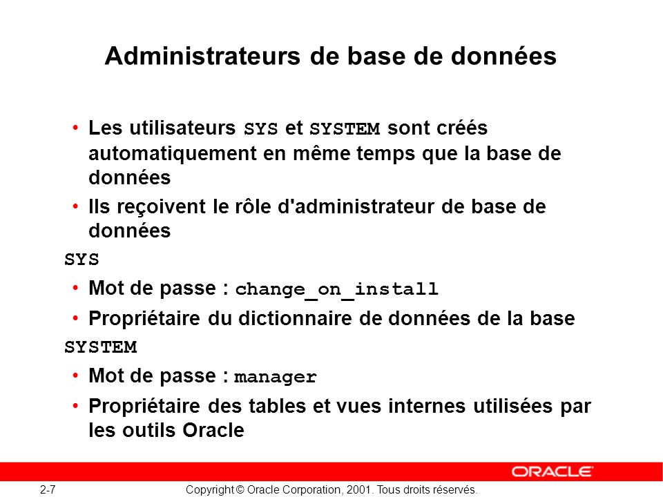 Administrateurs de base de données