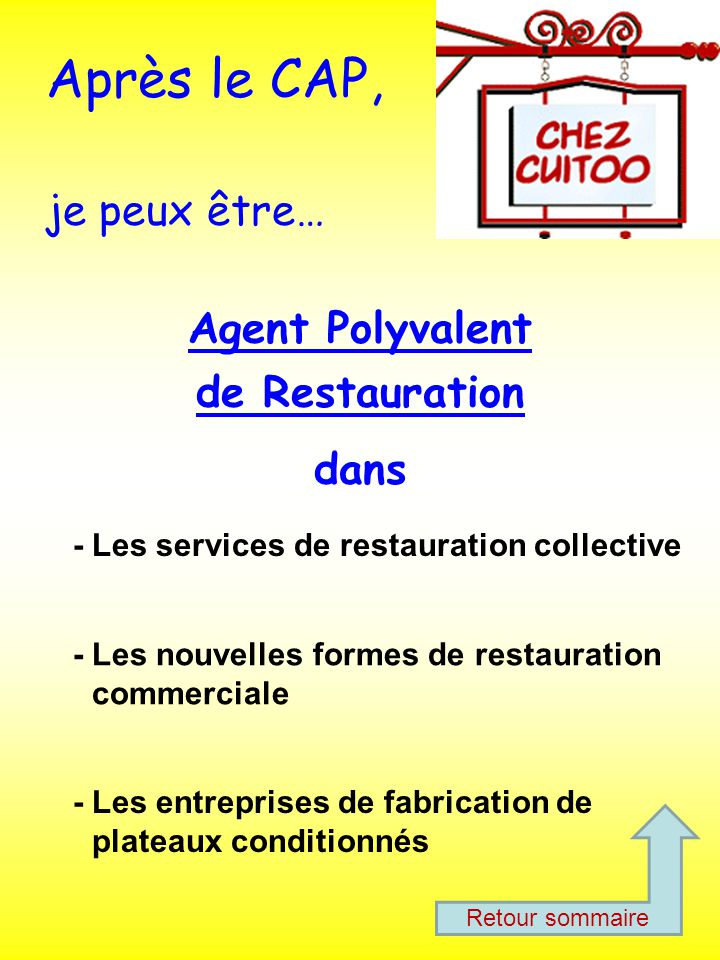 Un cap apr pour apprendre ppt t l charger for Diplome restauration collective