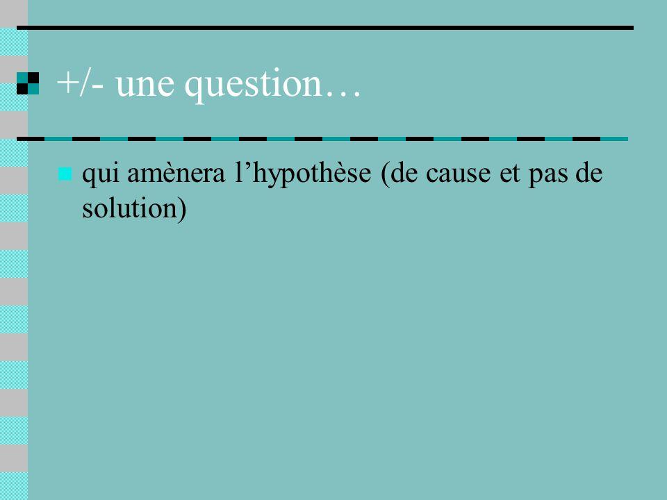 +/- une question… qui amènera l'hypothèse (de cause et pas de solution)