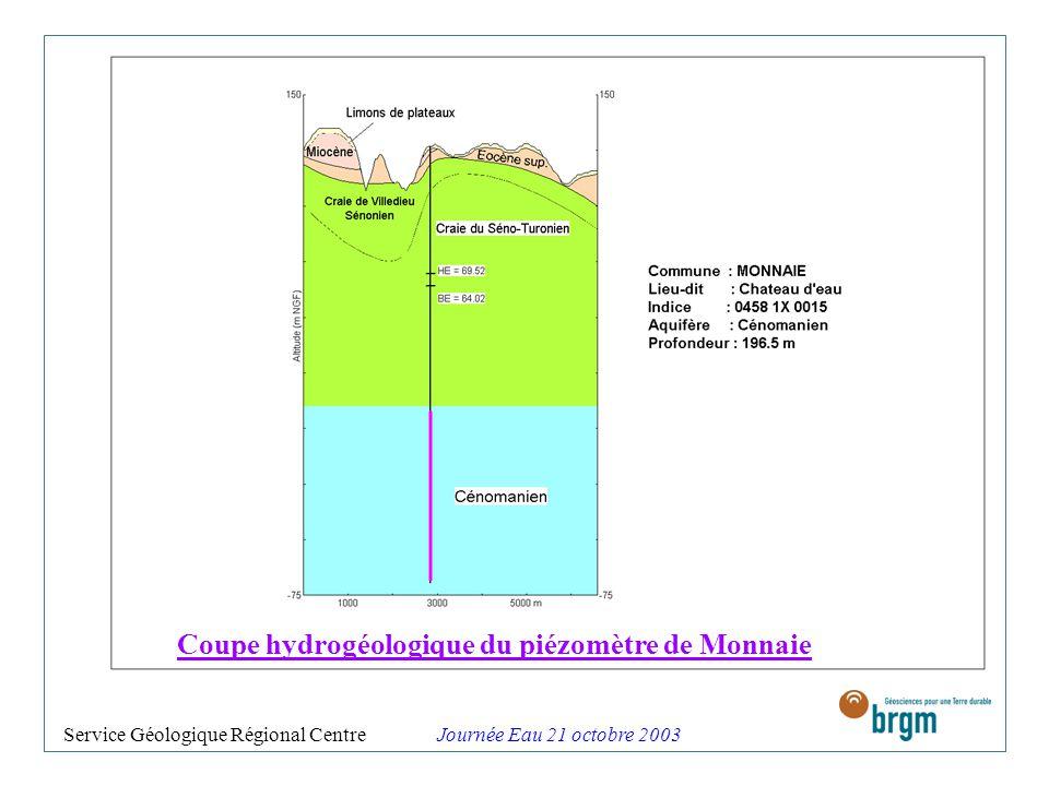Coupe hydrogéologique du piézomètre de Monnaie