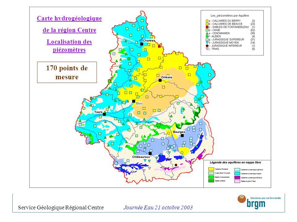 Carte hydrogéologique Localisation des piézomètres