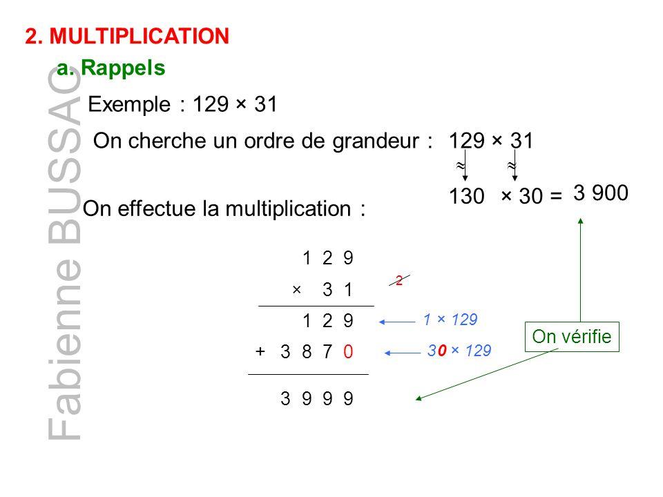 Fabienne BUSSAC 2. MULTIPLICATION a. Rappels Exemple : 129 × 31