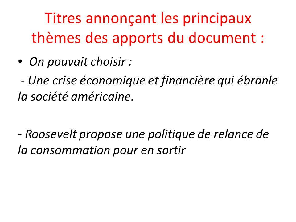 Titres annonçant les principaux thèmes des apports du document :