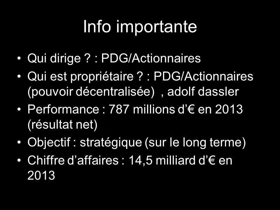 Info importante Qui dirige : PDG/Actionnaires