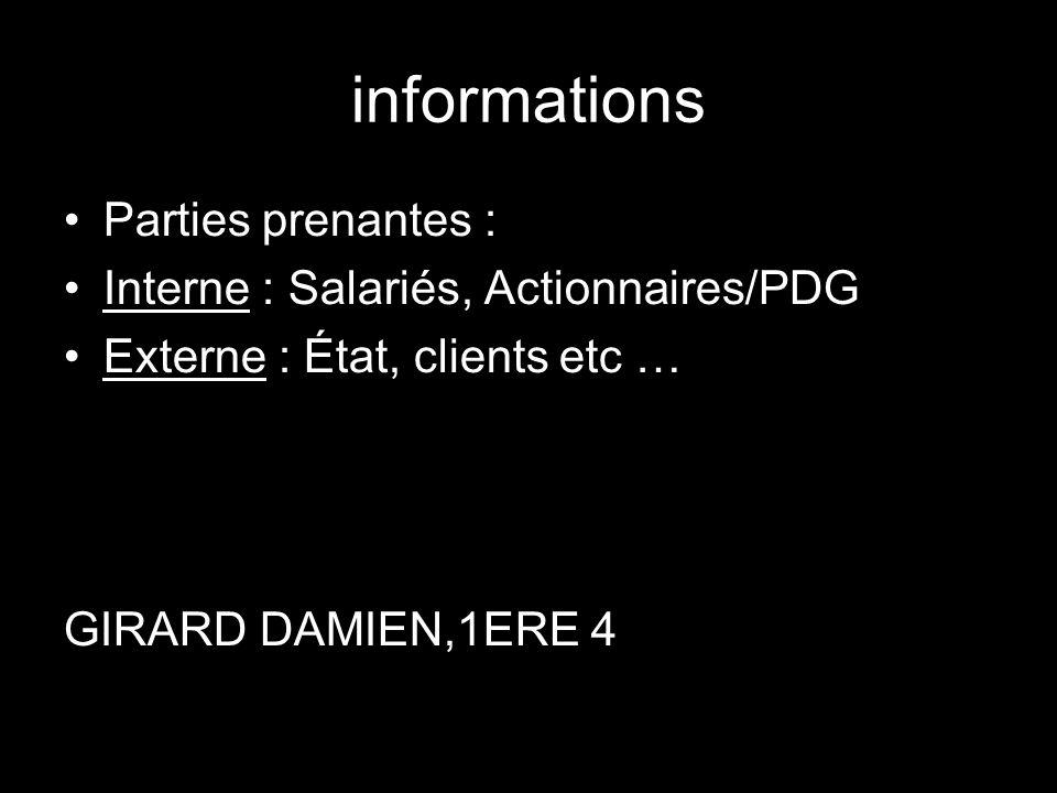 informations Parties prenantes : Interne : Salariés, Actionnaires/PDG