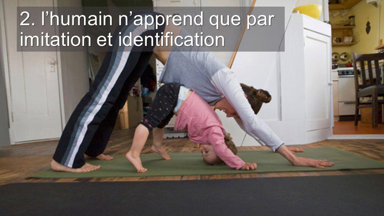 2. l'humain n'apprend que par imitation et identification