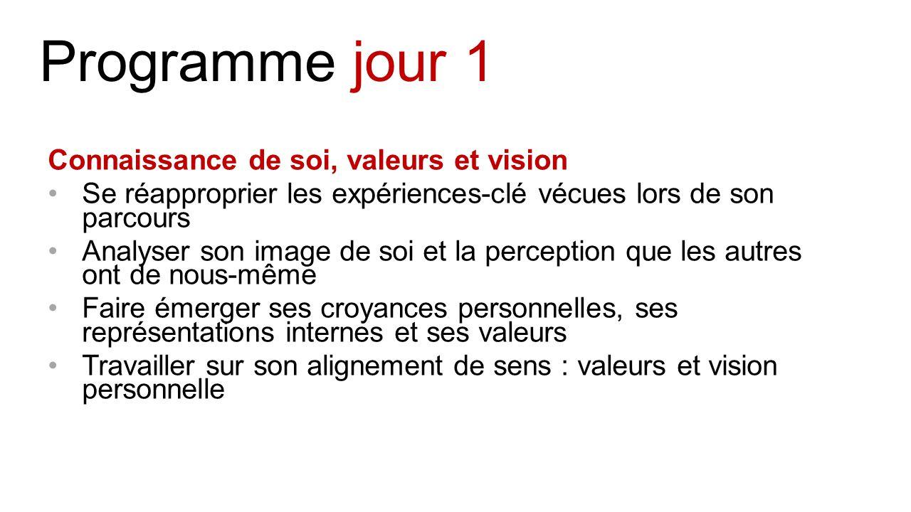 Programme jour 1 Connaissance de soi, valeurs et vision