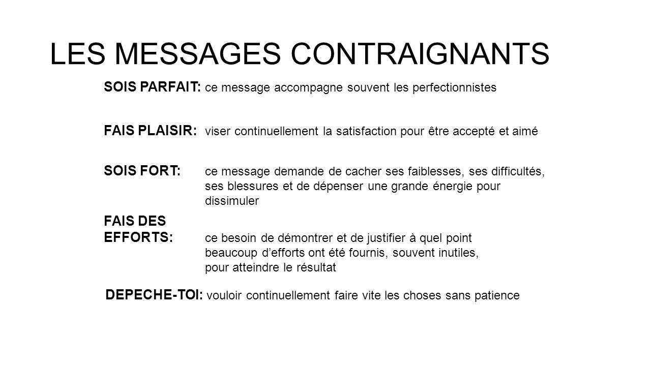 LES MESSAGES CONTRAIGNANTS