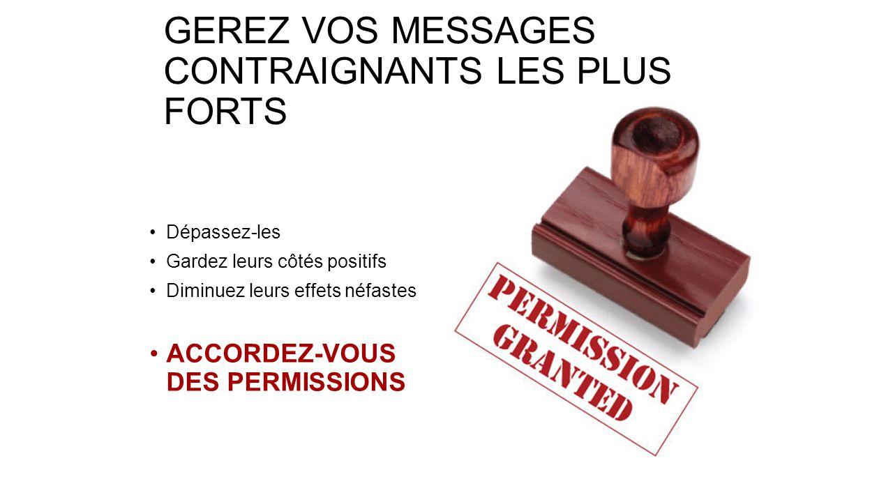 GEREZ VOS MESSAGES CONTRAIGNANTS LES PLUS FORTS