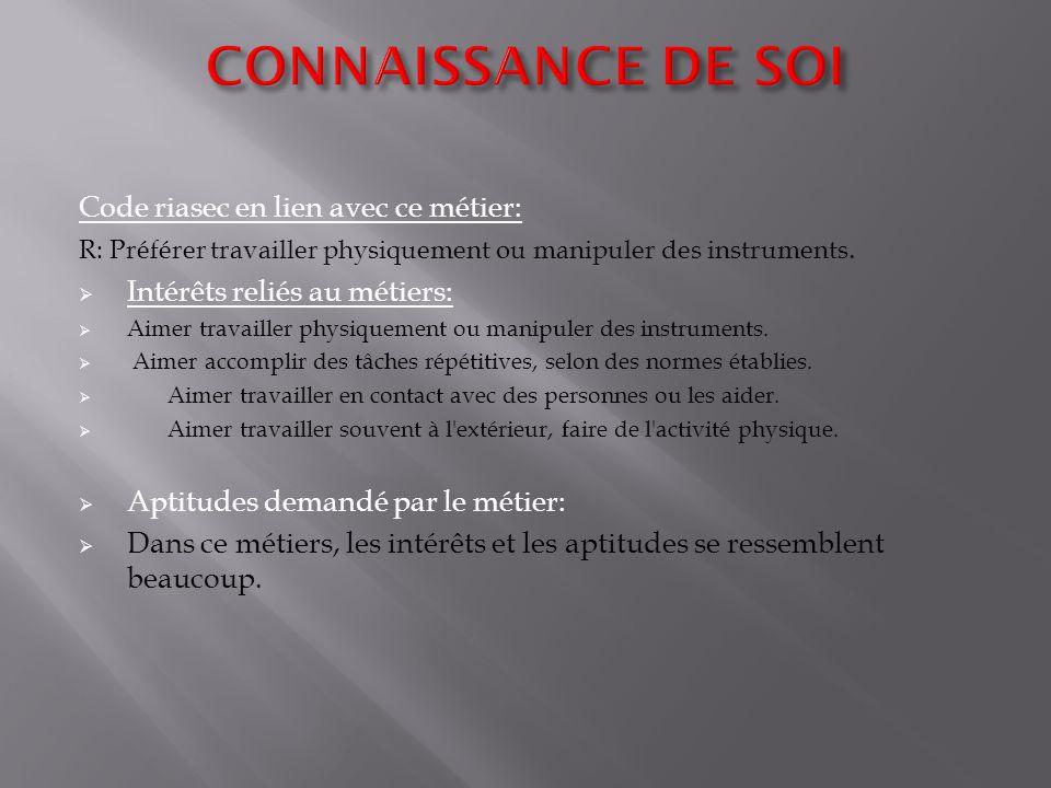 CONNAISSANCE DE SOI Code riasec en lien avec ce métier:
