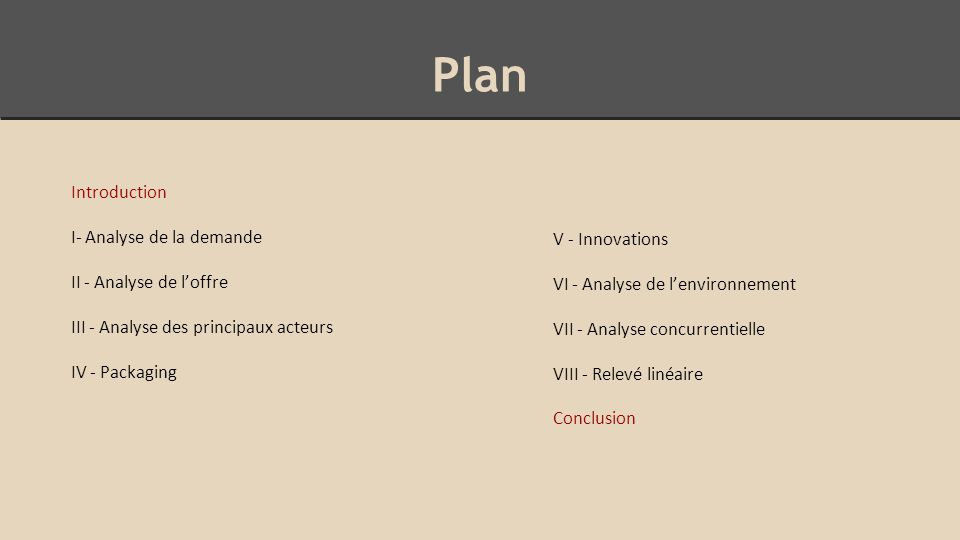 Plan Introduction I- Analyse de la demande V - Innovations