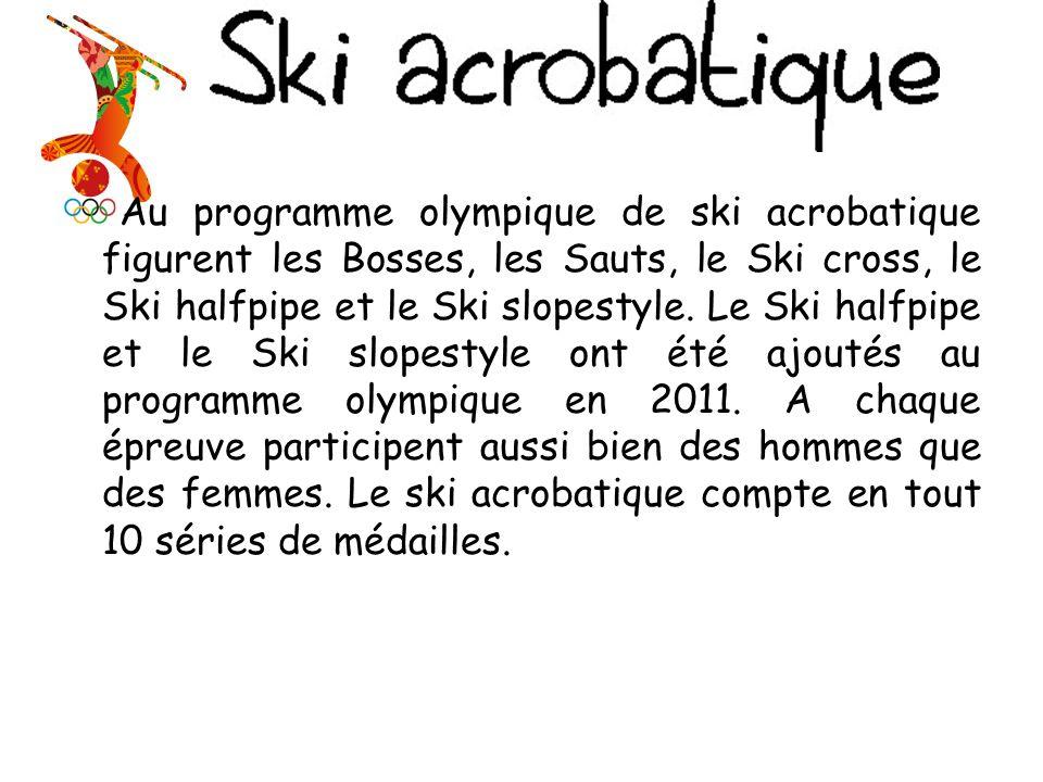 Au programme olympique de ski acrobatique figurent les Bosses, les Sauts, le Ski cross, le Ski halfpipe et le Ski slopestyle.