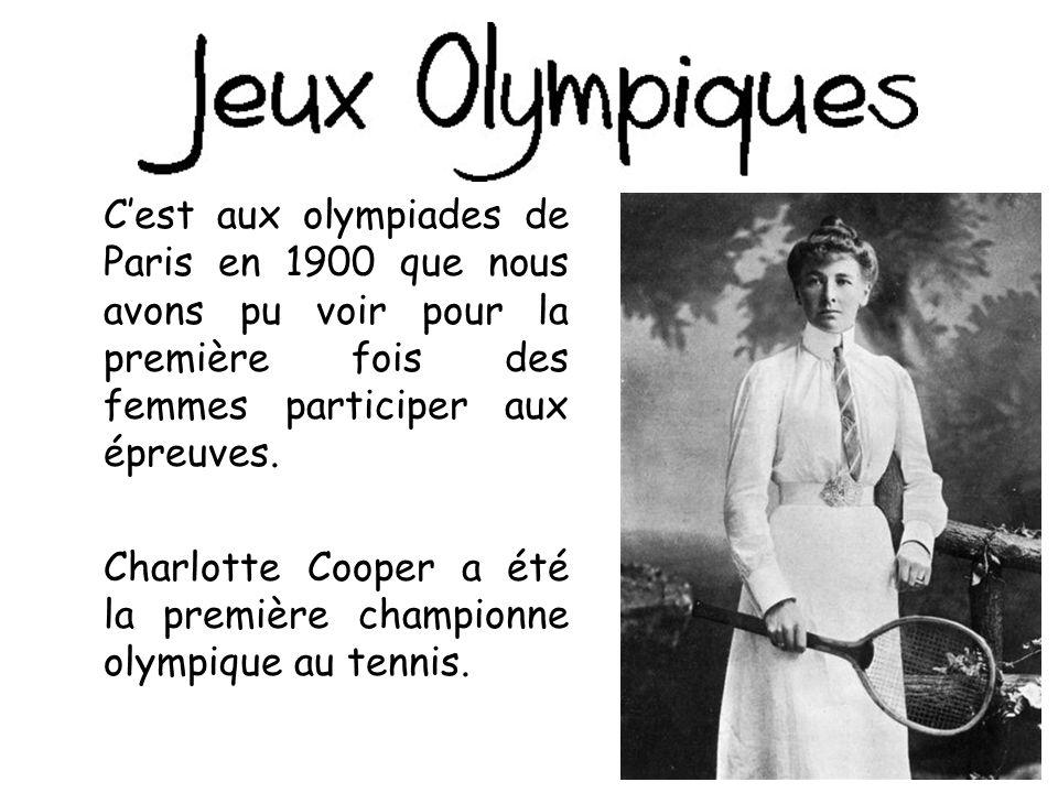 C'est aux olympiades de Paris en 1900 que nous avons pu voir pour la première fois des femmes participer aux épreuves.