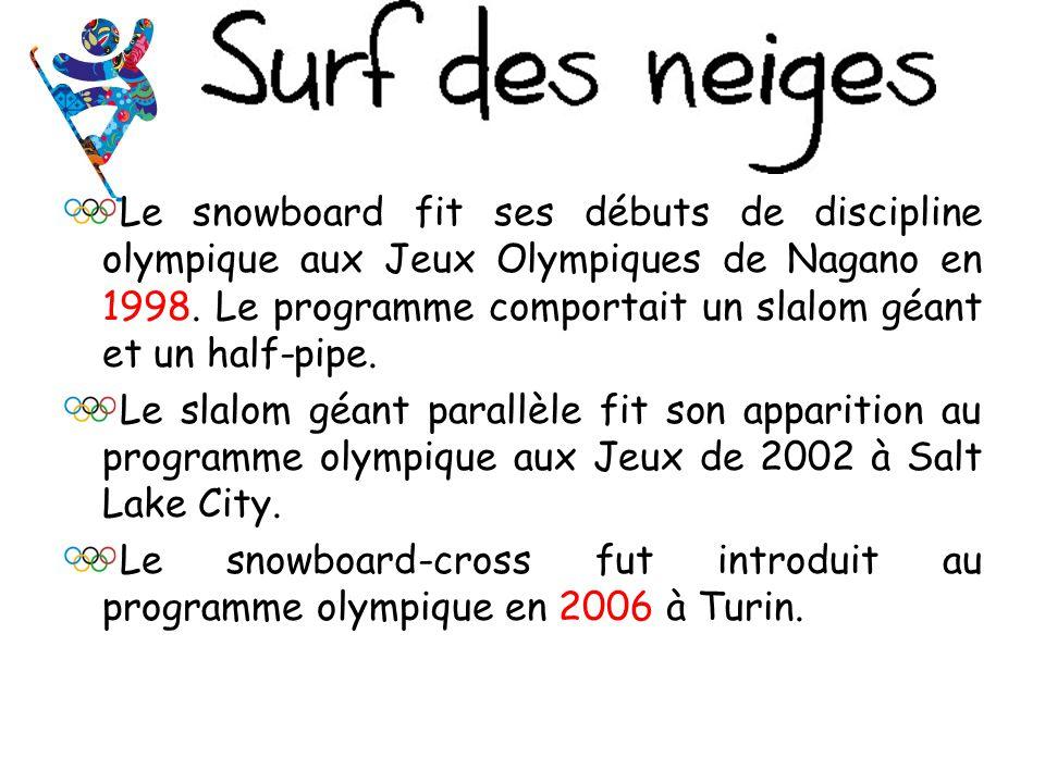 Le snowboard fit ses débuts de discipline olympique aux Jeux Olympiques de Nagano en 1998. Le programme comportait un slalom géant et un half-pipe.