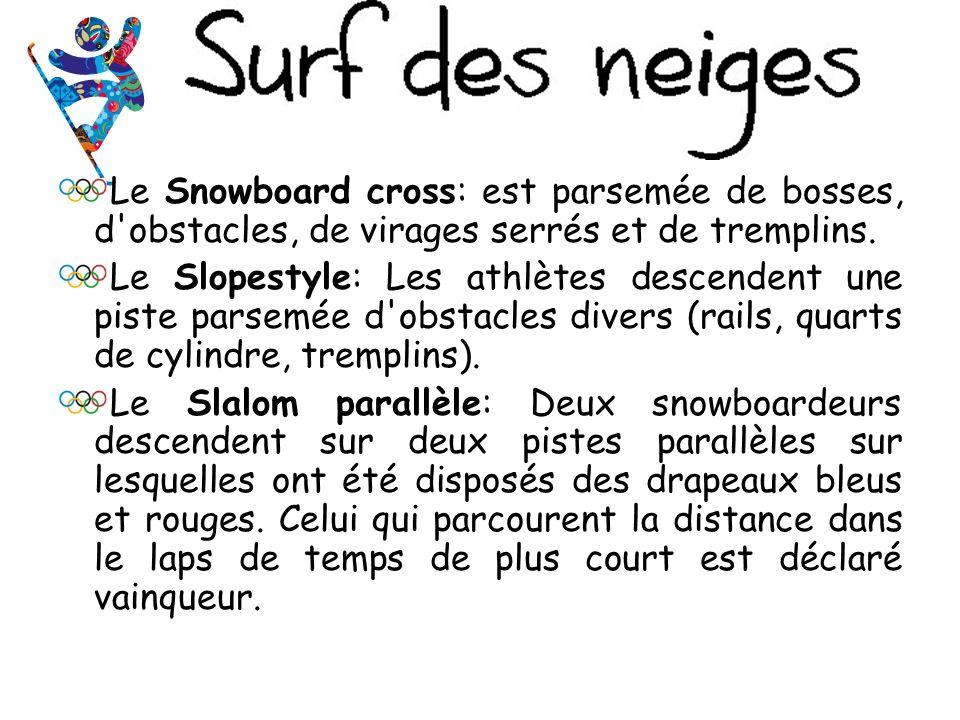 Le Snowboard cross: est parsemée de bosses, d obstacles, de virages serrés et de tremplins.