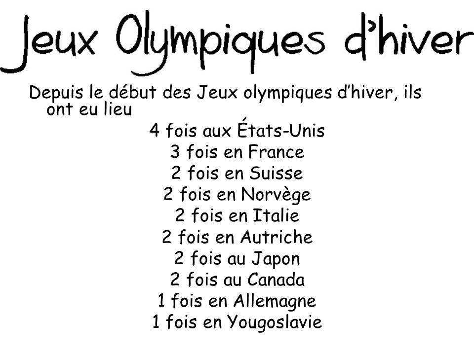 Depuis le début des Jeux olympiques d'hiver, ils ont eu lieu 4 fois aux États-Unis 3 fois en France 2 fois en Suisse 2 fois en Norvège 2 fois en Italie 2 fois en Autriche 2 fois au Japon 2 fois au Canada 1 fois en Allemagne 1 fois en Yougoslavie