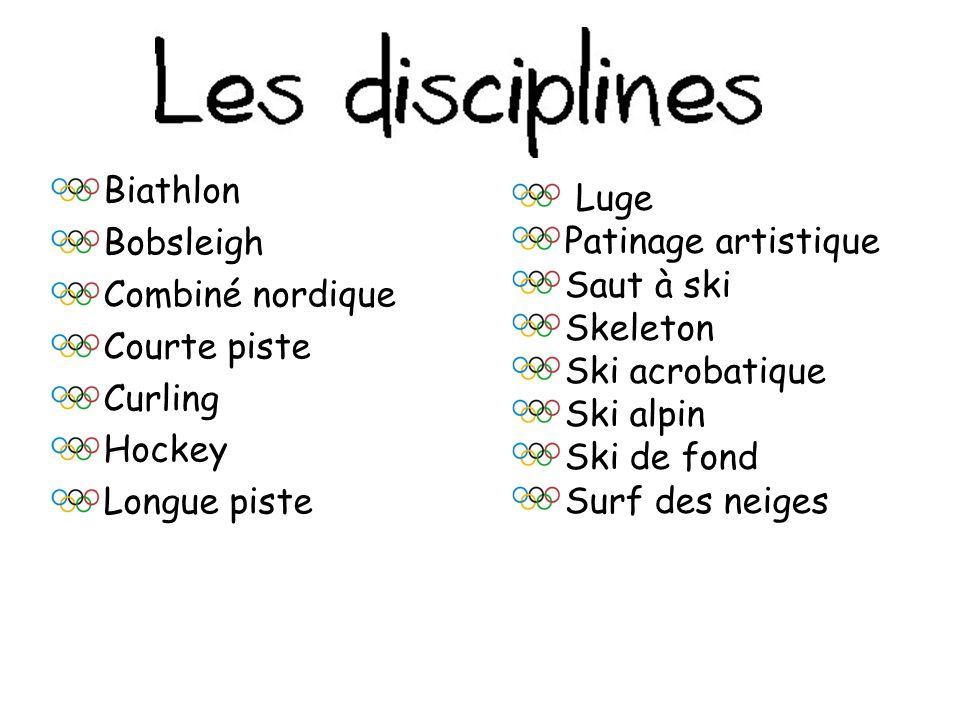 Biathlon Bobsleigh. Combiné nordique. Courte piste. Curling. Hockey. Longue piste. Luge. Patinage artistique.