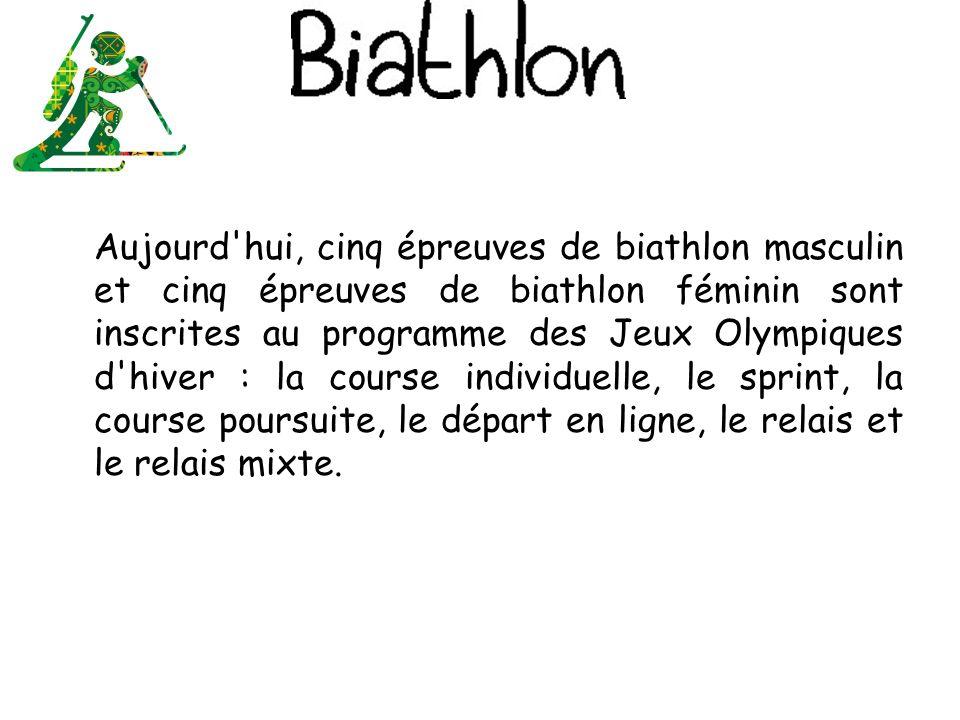 Aujourd hui, cinq épreuves de biathlon masculin et cinq épreuves de biathlon féminin sont inscrites au programme des Jeux Olympiques d hiver : la course individuelle, le sprint, la course poursuite, le départ en ligne, le relais et le relais mixte.