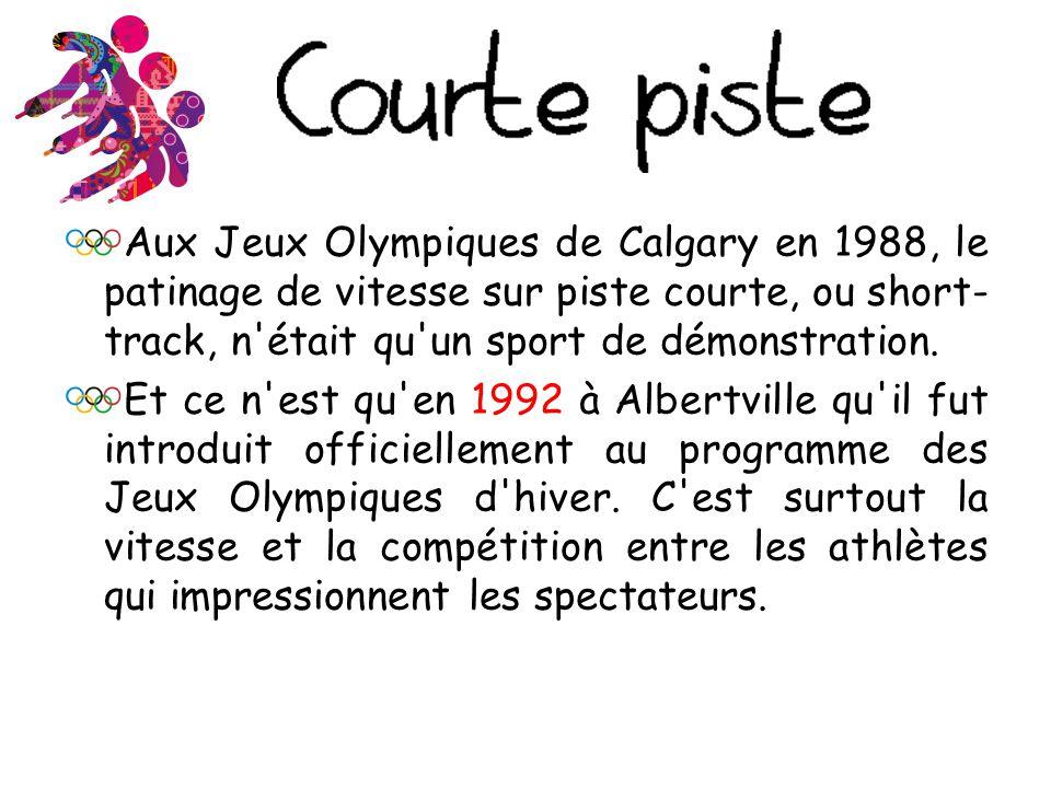 Aux Jeux Olympiques de Calgary en 1988, le patinage de vitesse sur piste courte, ou short-track, n était qu un sport de démonstration.