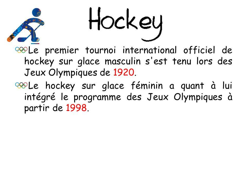 Le premier tournoi international officiel de hockey sur glace masculin s est tenu lors des Jeux Olympiques de 1920.